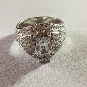 STERLING PRINCESS CUT VTG STYLE 2K DIAMOND RING 9